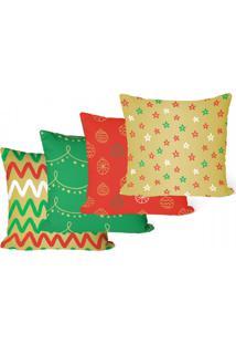Kit 4 Capas Para Almofadas Decorativas De Natal Colorida 35X35Cm - Multicolorido - Dafiti