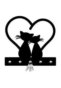 Porta Chaves Cat Love Love Decor Preto