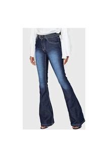 Calça Jeans Grifle Company Flare Pespontos Azul-Marinho