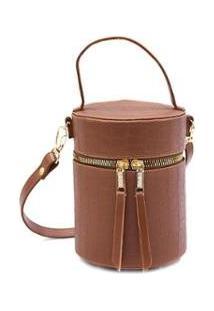 Bolsa Feminina Mini Bag Cilindrica Transversal Croco Casual - Feminino-Caramelo