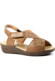 Sandália Feminina Anabela 7998 Em Couro Doctor Shoes - Feminino-Caramelo