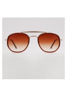 Óculos De Sol Redondo Feminino Yessica Dourado