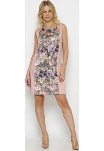 Vestido Floral- Rosa Claro & Roxo- Vip Reservavip Reserva