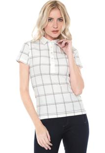 Camisa Polo Dudalina Geométrica Off-White