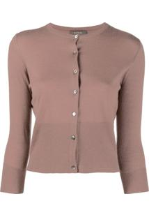 N.Peal Cardigan Cropped De Cashmere - Marrom