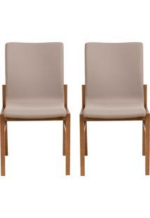Conjunto De Cadeiras Camã©Lia - 2 Peã§As - Bege