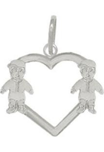 Pingente Prata Mil Coração Vazado Com Dois Meninos Prata
