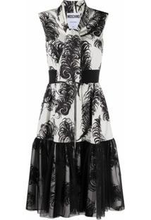Moschino Vestido Com Estampa De Plumas E Detalhe De Amarração - Branco