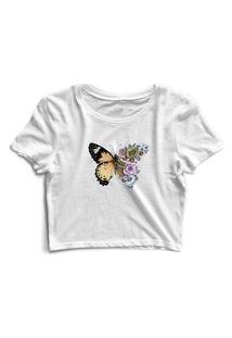 Blusa Blusinha Cropped Tshirt Camiseta Feminina Borboleta Flores Branco