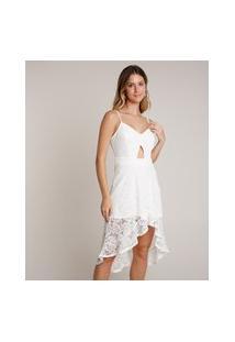 Vestido Feminino Em Renda Midi Mullet Com Babado Alças Finas Off White