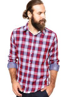 Camisa Colcci Slim Estampada Vermelho/Azul