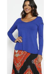 Blusa Lisa Com ZãPer- Azul Escuro- Thiptonthipton