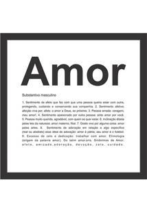 Quadro Sem Vidro Amor 27X27Cm Preto