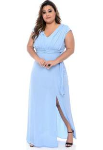 Vestido Longo Azul Crepe Plus Size