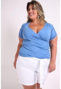 Blusa Kaue Plus Size Transpassada Franzidos Feminina - Feminino-Azul