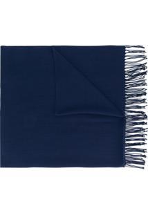 Emporio Armani Cachecol Oversized Com Franjas - Azul