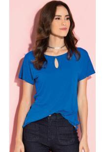 Blusa Azul Com Decote Gota