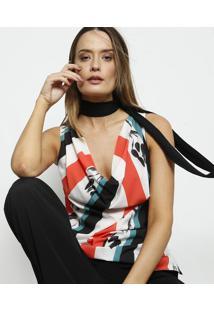 Blusa Com Fendas- Branca & Coral- Cleo Aidarcleo Aidar