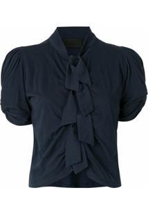 Andrea Bogosian Blusa Com Laços Drapeada - Azul