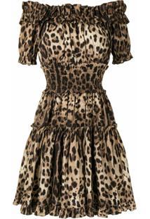 Dolce & Gabbana Vestido Com Estampa De Leopardo - Marrom