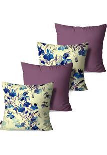 Kit Com 4 Capas Para Almofadas Pump Up Decorativas Flor De Cerejeira Azul 45X45Cm