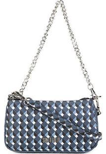 Bolsa Santa Lolla Mini Bag Risco Cubos Alça Corrente Feminina - Feminino-Preto+Azul