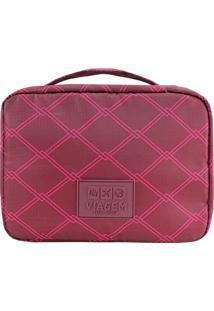 Nécessaire De Viagem Geométrica- Bordô & Pink- 19X25Jacki Design