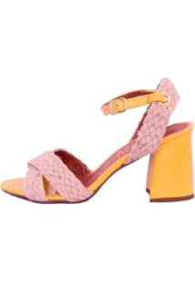 Sandália Amarela Com Corda Natural Salto Flare Mahasa Feminina - Feminino-Amarelo