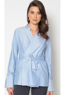 Blusa Com Amarração & Recortes - Azul Claro & Azuldudalina