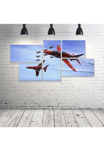 Quadro Decorativo - Bae-Hawk-T-Mk1-Red-Arrows-Jet-Team - Composto De 5 Quadros - Multicolorido - Dafiti