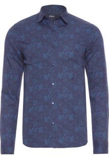 Camisa Masculina Tecido Plano - Azul Marinho