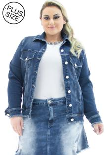 Jaqueta Feminina Jeans Over Com Barra Desfiada Plus Size