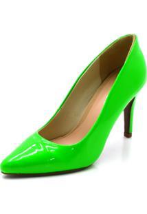 Sapato Scarpin Salto Alto Fino Em Napa Verniz Verde Neon - Kanui