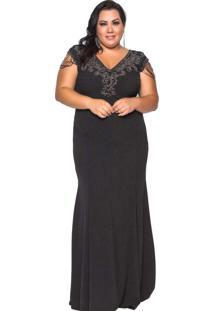 Vestido Almaria Plus Size Pianeta Preto