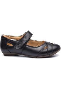 Sapatilha Couro Doctor Shoes 1298 Feminina - Feminino-Preto
