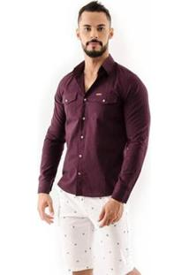 Camisa Amil Safari Slim Manga Longa Ii Masculina - Masculino-Vinho