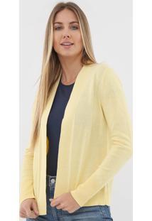 Cardigan Gap Tricot Liso Amarelo
