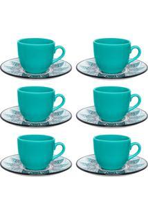 Conjunto 6 Xícaras De Chá Oxford Coup Serene Porcelana Preto E Verde