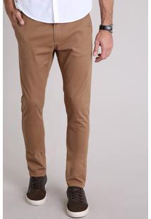 Calça Masculina Chino Slim Em Algodão + Sustentável Marrom