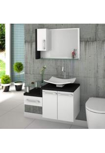 Conjunto Para Banheiro Gabinete Com Cuba F44 E Espelheira Legno 830W Branco/Preto Ônix