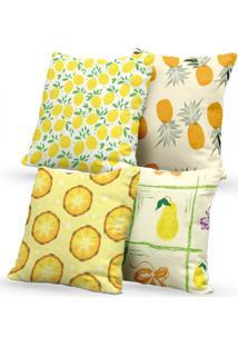 Kit 4 Capas De Almofadas Decorativas Own Frutas Tropicais 45X45 - Somente Capa