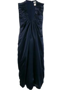 Bottega Veneta Vestido De Cetim Com Detalhes Franzidos - Azul