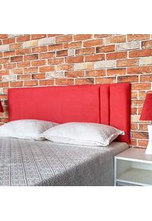 Cabeceira Painel Siena Suede Liso Vermelho Casal 140 X 60