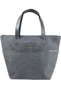 Bolsa Shopper Com Bolsos- Cinza- 23,5X33X23,5Cm-Jacki Design