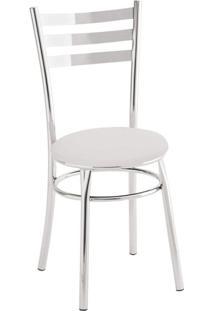Cadeira Para Cozinha Assento Estofado 404 Unimóvel Cromado/Branco