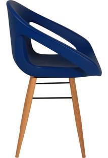 Poltrona Delice Com Base De Madeira Assento Em Polietileno Azul Escuro Tramontina