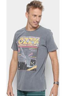 Camiseta Redley Tinturada Silk Magazine V Masculina - Masculino-Chumbo