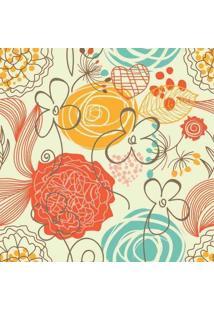 Papel De Parede Adesivo Floral Retrô
