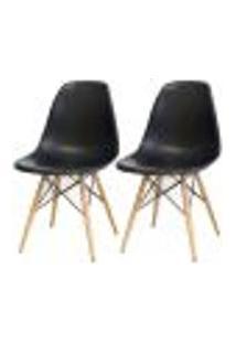 Kit 02 Cadeiras Decorativas Eiffel Charles Eames F03 Preto Com Pés De Madeira - Lyam Decor