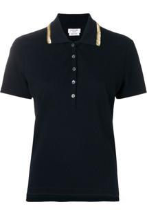 Thom Browne Camisa Polo Bordada - Azul
